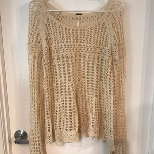 Free People Cream Knit Sweater